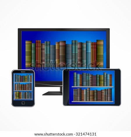 Set of electronic library digital devices on white, vector illustration - stock vector