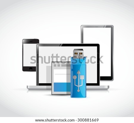 set of electronics and usb and memory card illustration design graphic - stock vector