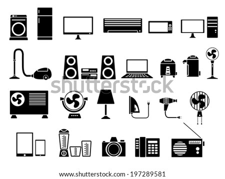 Set of Electronics Icon Vector Illustration - stock vector