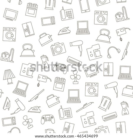 Set of Electronics pattern black icons