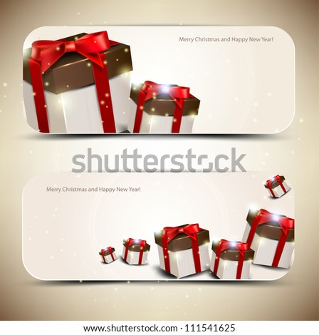 Set of  elegant banners with  gifts. Vector illustration - stock vector