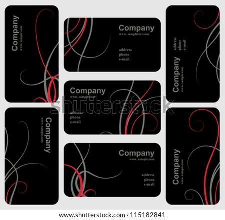 Set of elegant black business cards, vector template design - stock vector