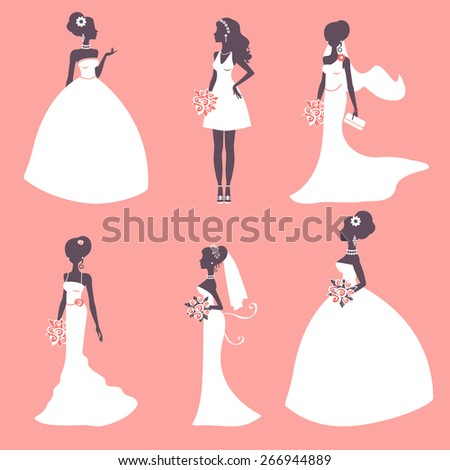 Set of elegant brides in silhouette. Vector illustration - stock vector