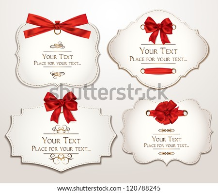 Set of elegant cards with red bows - stock vector
