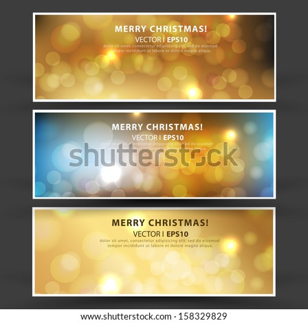 Set of Elegant Christmas banners with a gold background and bokeh effect. Vector EPS 10 illustration. - stock vector