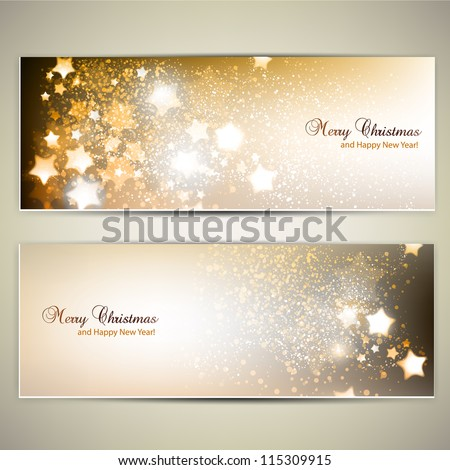 Set of Elegant Christmas banners with stars. Vector illustration - stock vector