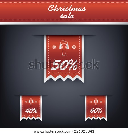Set of elegant Christmas vertical ribbon tags with winter discounts and sales symbols. Eps10 vector illustration. - stock vector