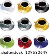 Set of elegant coffee cups in different colors - stock vector