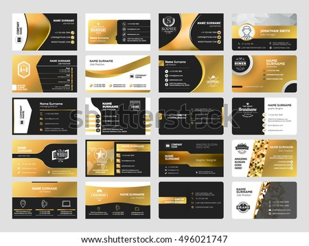 Set elegant doublesided business card templates stock vector set of elegant double sided business card templates with logotype elements black and gold reheart Choice Image