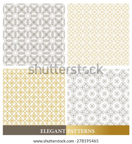 Set of Elegant European or Arabic Seamless Patterns in Gold Color in Classic Style Elements for Decoration or Background. Vector Illustration. - stock vector