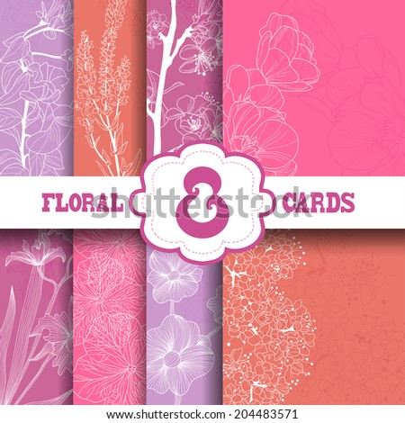 Set of 8 elegant floral cards with hand drawn decorative flowers, design elements. Can be used for wedding invitations, greeting cards, baby shower. - stock vector