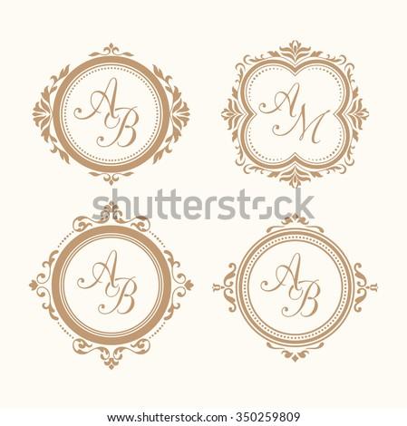 Set of elegant floral monogram design templates for one or two letters . Wedding monogram. Calligraphic elegant ornament. Monogram identity for restaurant, hotel, heraldic, jewelry. - stock vector