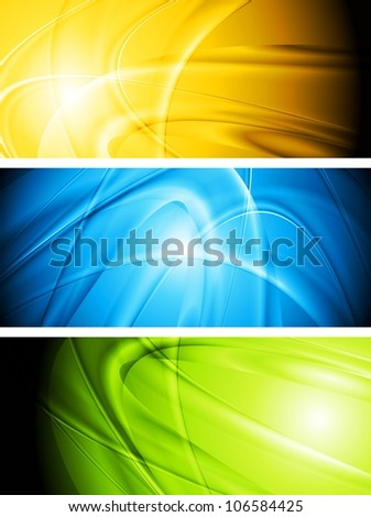Set of elegant glowing banners. Eps 10 vector background
