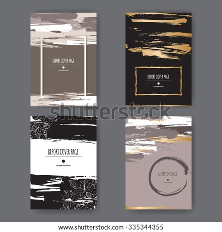 Set of 4 elegant grunge A4 templates with paint brush strokes. Great for report, brochure covers, menu design. - stock vector