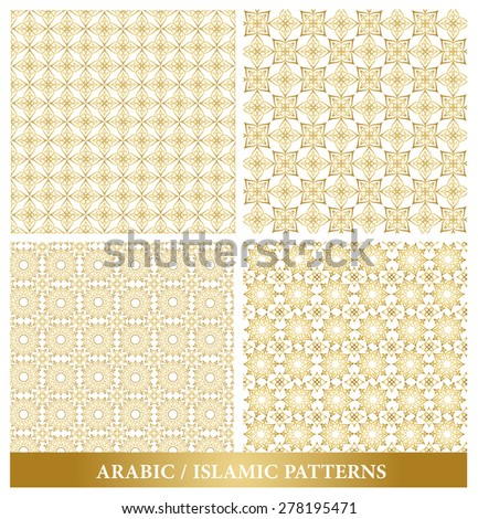 Set of Elegant Islamic or Arabic Seamless Patterns in Gold Color in Classic Style Elements for Decoration or Background. Vector Illustration. - stock vector