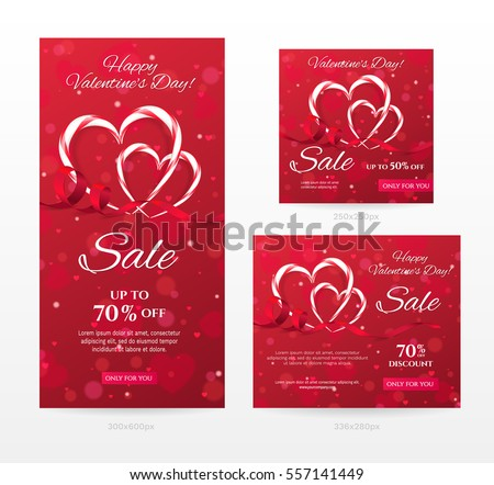 Set of elegant sale banners of different sizes for Happy Valentine's day with heart shaped candy canes, red ribbon. Romantic template for discount offer. Vector background with hearts, effect bokeh