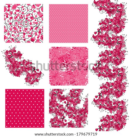 set of 6 elegant seamless patterns with decorative cherry blossom, dots, curls and abstract flowers, design elements - stock vector