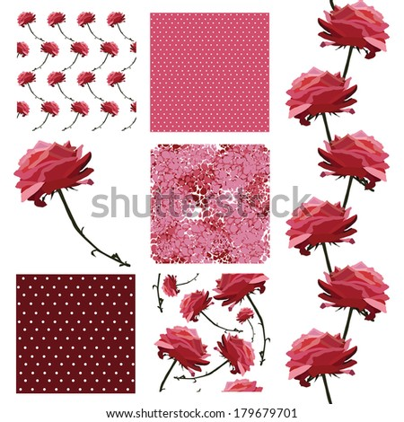 set of 6 elegant seamless patterns with decorative pink roses, dots and abstract flowers, design elements - stock vector