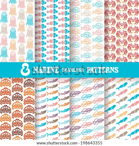 Set of 8 elegant seamless patterns with fishes, crabs, jellyfishes, turtles, sharks and whales, design elements. Patterns for summer invitations, greeting cards, scrapbooking, print, gift wrap - stock vector