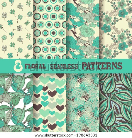 Set of 8 elegant seamless patterns with hand drawn decorative flowers, leaves, dots and hearts, design elements. Floral patterns for wedding invitations, greeting cards, scrapbooking, print, gift wrap - stock vector