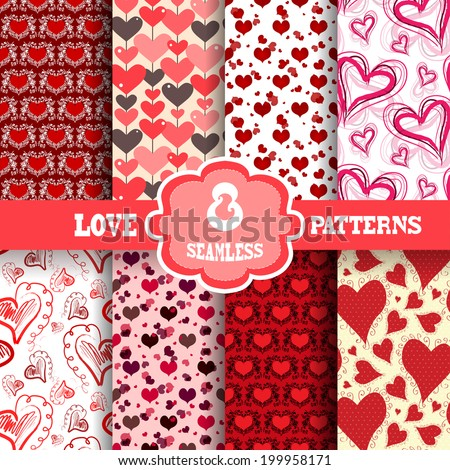 Set of 8 elegant seamless patterns with hand drawn decorative hearts, design elements. Romantic patterns for wedding invitations, greeting cards, scrapbooking, print, gift wrap. Valentines day - stock vector