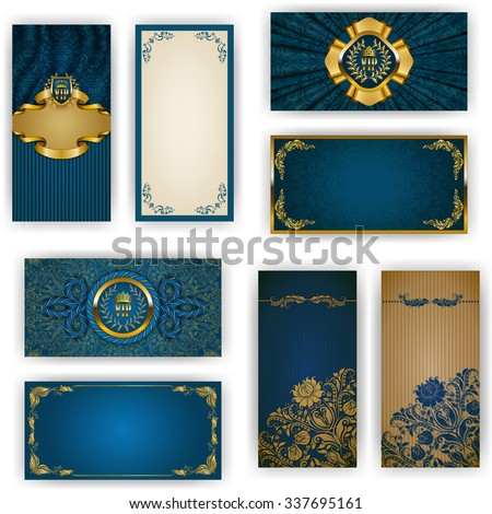 Set of elegant template for vip luxury invitation, greeting, gift card with lace ornament, crown, ribbon, drapery fabric, place for text. Floral elements, ornate background. Vector illustration EPS 10 - stock vector