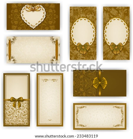 Set of elegant templates for luxury invitation, gift, greeting card with ruffles, lace ornament, ribbon, bow, heart frame, place for text. Floral elements, ornate background. Vector illustration EPS10 - stock vector