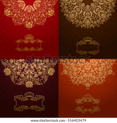 Set of elegant templates with golden frame banner, gold crown, place for text on ornate floral background. Luxury floral invitation, greeting, gift card in vintage style. Vector illustration EPS 10.