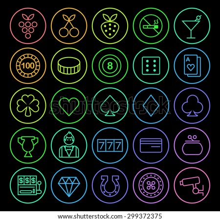 Set of Elegant Universal Minimal Thin Line Colored Neon Stroke Casino Icons with Color Gradient on Circular Buttons on Black Background. - stock vector