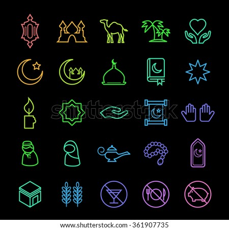 Set of Elegant Universal Minimal Thin Line Colored Neon Stroke Islamic Icons with Color Gradient on Black Background. - stock vector