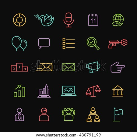 Set of Elegant Universal Minimal Thin Line Colored Neon Stroke Politics Icons on Black Background.