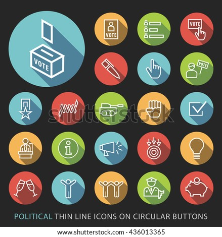 Set of Elegant Universal White Politics Minimalistic Thin Line Icons on Circular Colored Buttons on Black Background. - stock vector