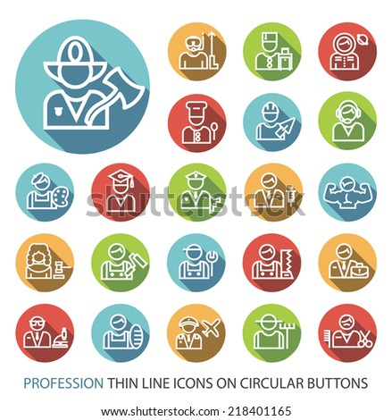Set of Elegant Universal White Profession Minimalistic Thin Line Icons on Circular Colored Buttons on White Background. - stock vector