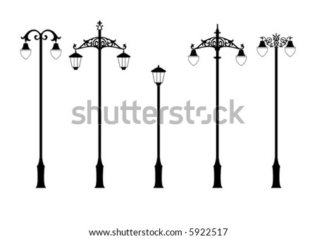 set of elegant victorian style street lamps in vector format - stock vector