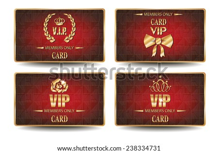 Set of elegant VIP cards with geometric textured red background - stock vector