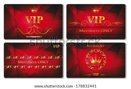 Set of elegant vip gold cards with the red background - stock vector