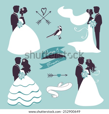 Set of elegant wedding couples in silhouette, ribbons and other graphic elements  - stock vector