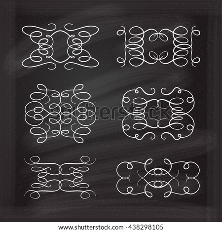 Set of elegant white flourishes for your design on the chalkboard. - stock vector