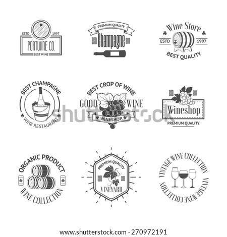 Set of elegant wine badges and labels. Vintage logos template for your design - stock vector