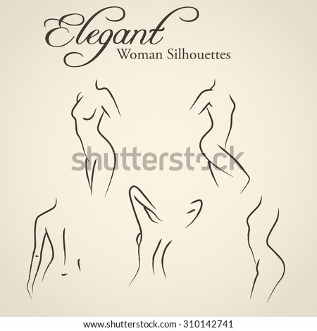 Set of elegant woman silhouettes in a linear sketch style (intimate hygiene, woman health, skin and body care, diet, fitness etc.) - stock vector