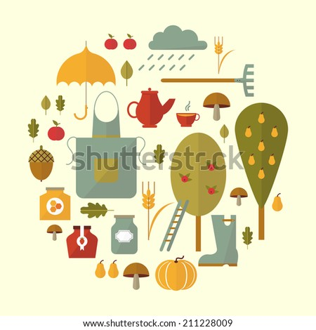 Set of elements and items that represent autumn.Flat icon - stock vector