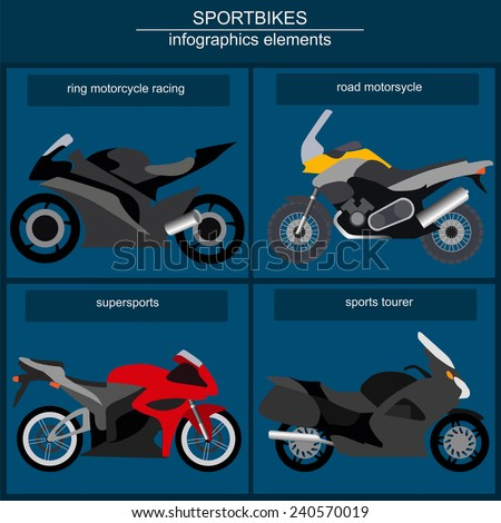 Set of elements choppers, cruisers for creating your own infographics or maps - stock vector