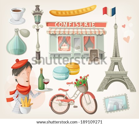 Set of elements, famous buildings and decorations from Paris, France - stock vector