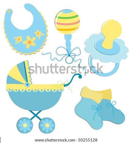 Set of elements for a baby's postcard or other design (EPS10) - stock vector
