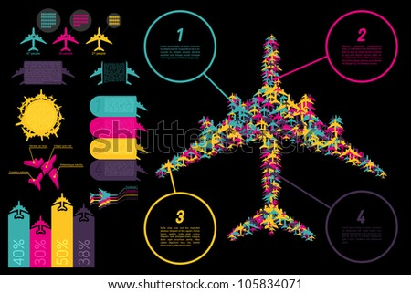 Set of elements for aviation ingographics. Vector illustration. - stock vector