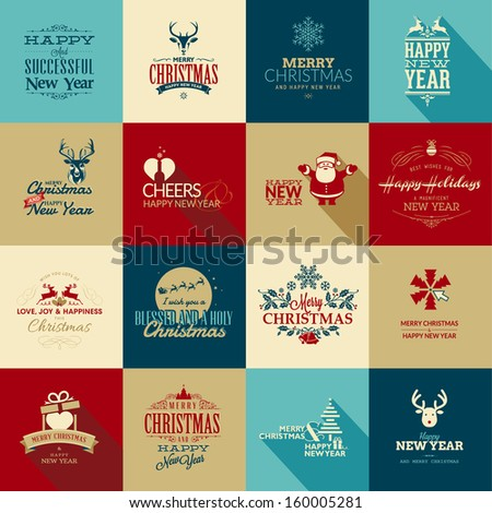Set of elements for Christmas and New Year greeting cards - stock vector