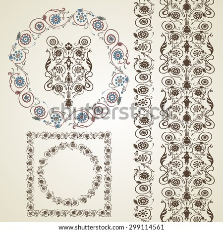 Set of elements for design. Frame, border with flowers in russian style. Ethnic motifs.Vector illustration - stock vector