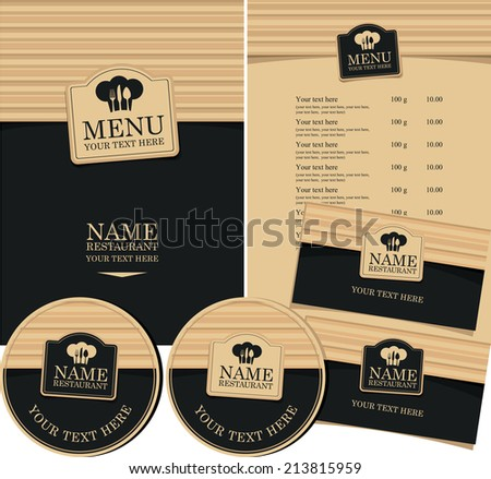 set of elements for design style restaurant - stock vector