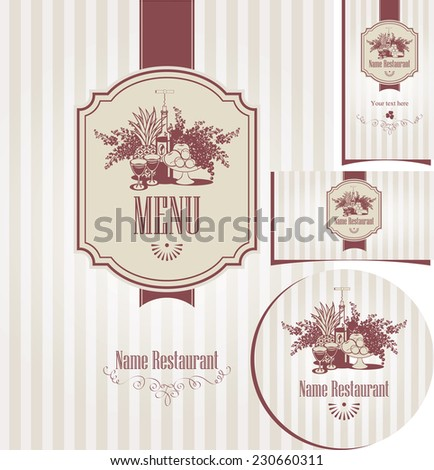 set of elements for design style restaurant with a bottle of wine and a still life with lilacs - stock vector