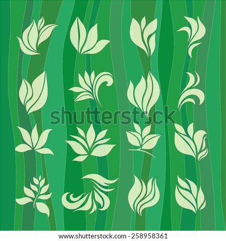 set of elements for design - stylized leaves on a green background - stock vector